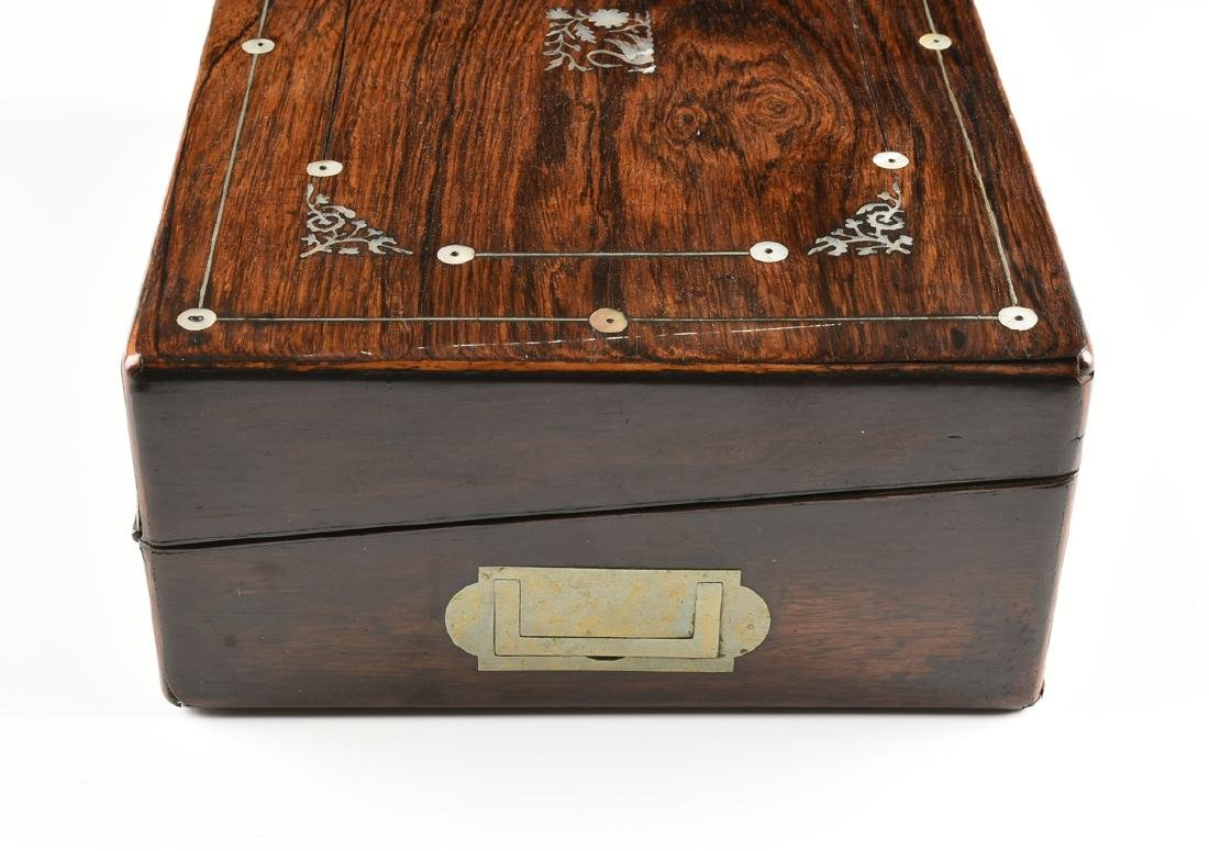 A WILLIAM IV MOTHER OF PEARL INLAID ROSEWOOD VENEERED - 8