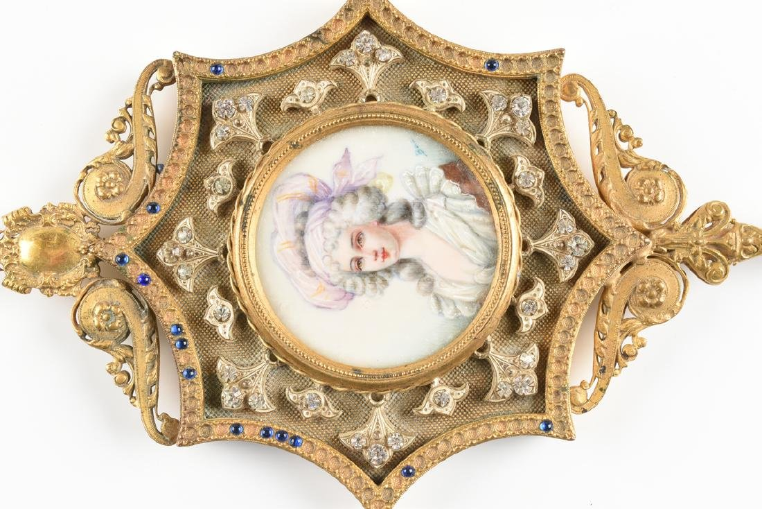 A LOUIS XVI REVIVAL FAUX JEWELED GILT METAL AND PAINTED - 2