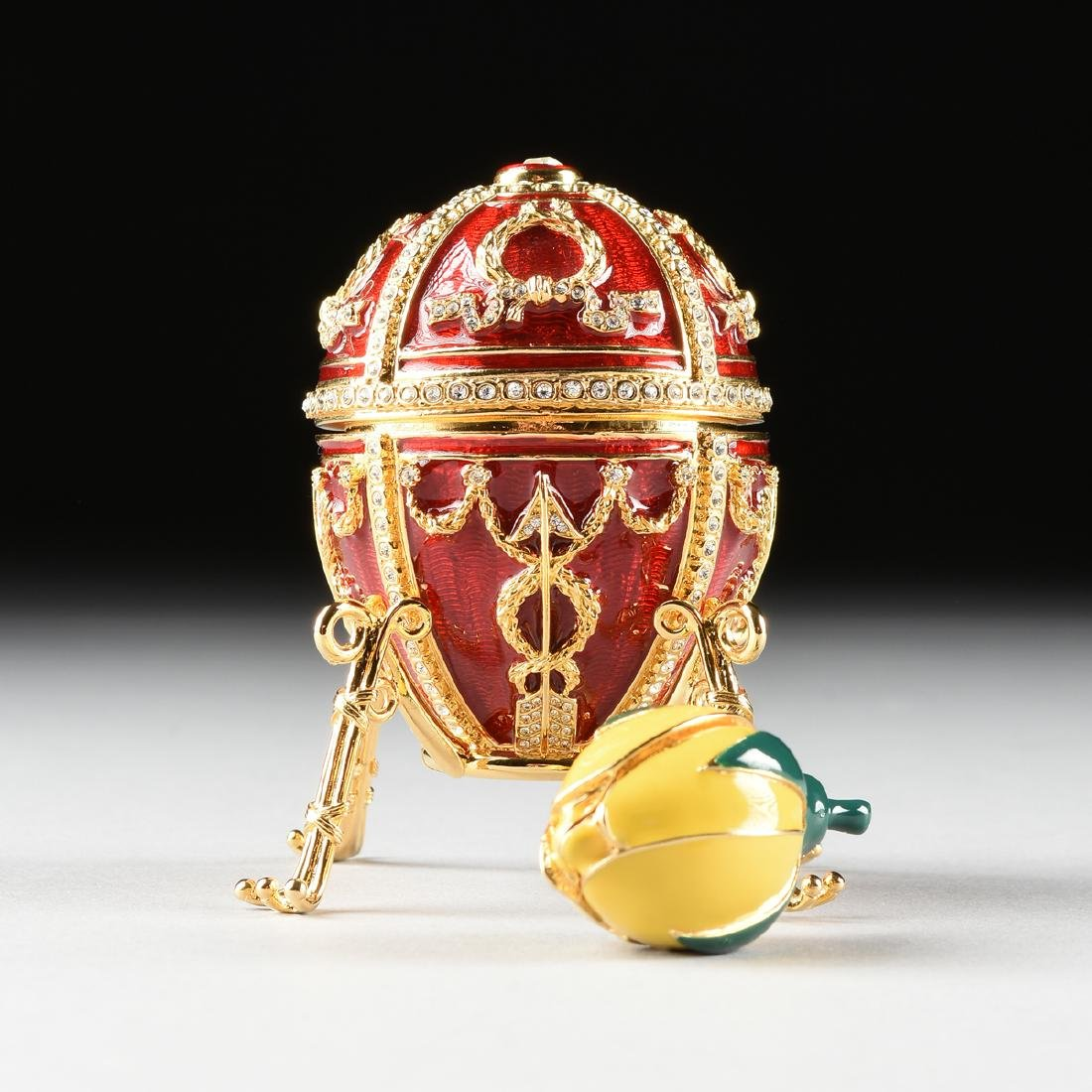 "A FABERGE INSPIRED EGG ORNAMENT IN THE ""ROSEBUD EGG"""