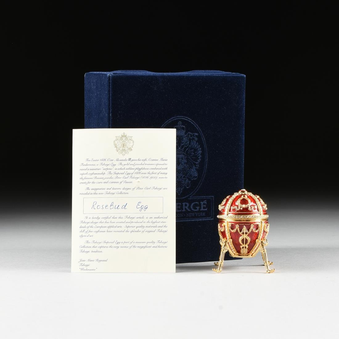 "A FABERGE INSPIRED EGG ORNAMENT IN THE ""ROSEBUD EGG"" - 4"