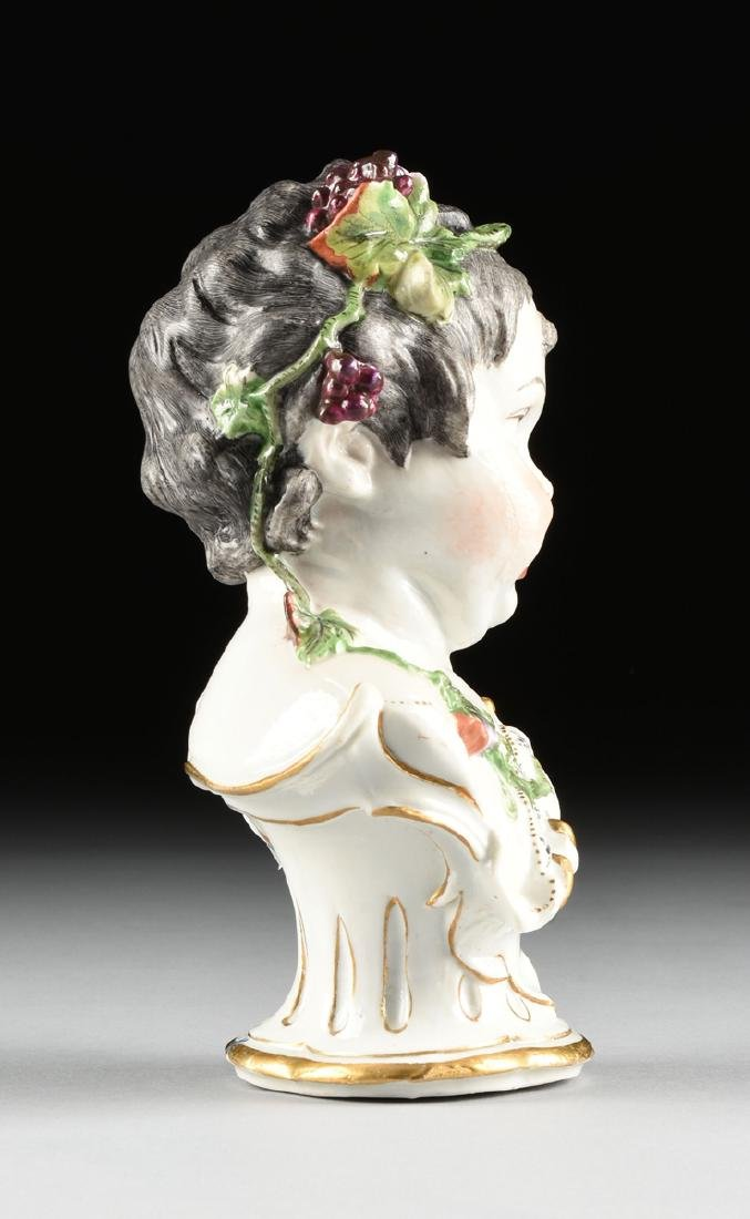 TWO HOCHST PAINTED PORCELAIN ALLEGORICAL BUSTS OF - 10