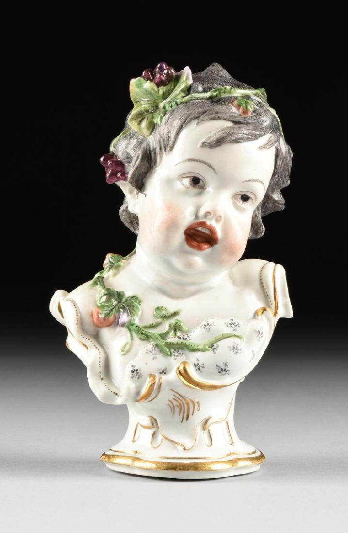 TWO HOCHST PAINTED PORCELAIN ALLEGORICAL BUSTS OF - 9