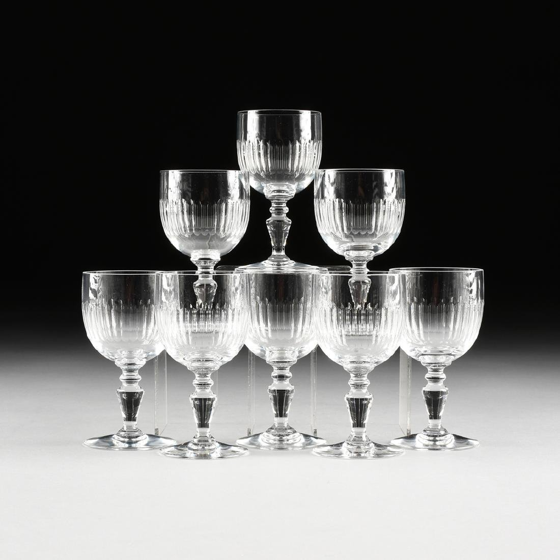 A SET OF EIGHT BACCARAT CLEAR CRYSTAL CLARET WINE