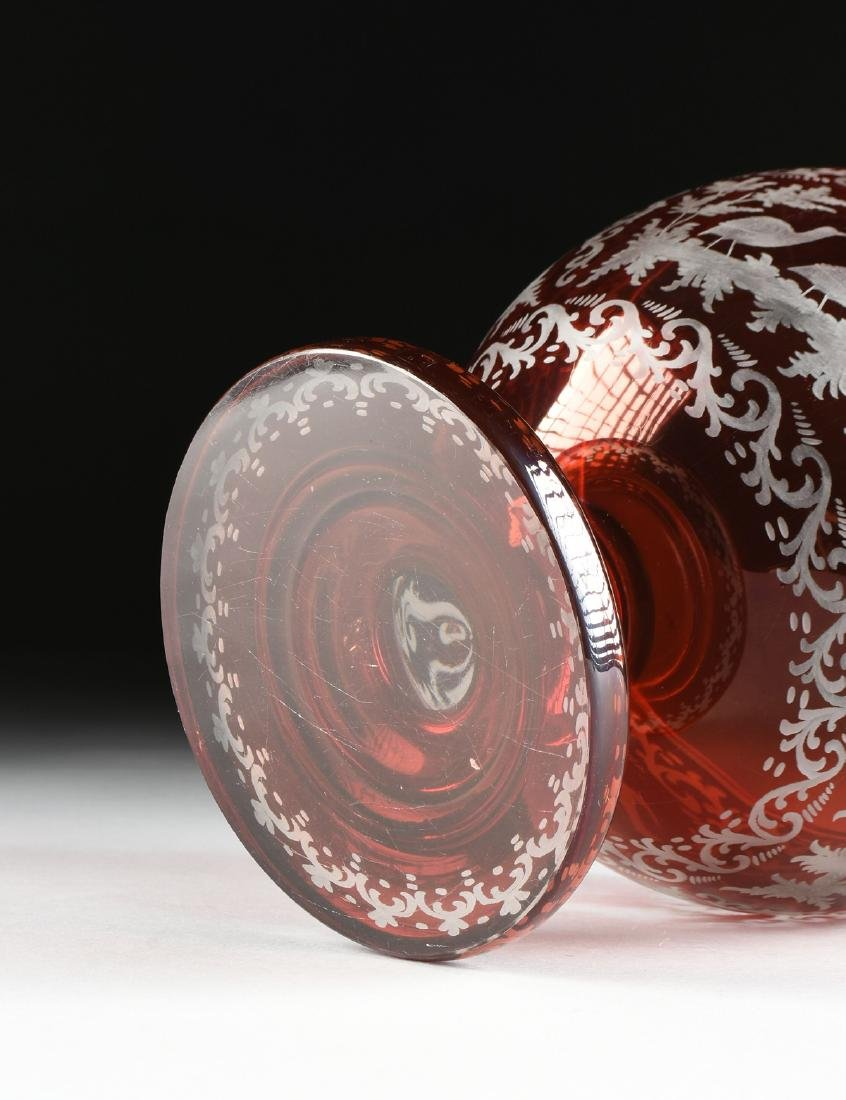 A GROUP OF TWO BOHEMIAN/CZECH RUBY CUT TO CLEAR GLASS - 10