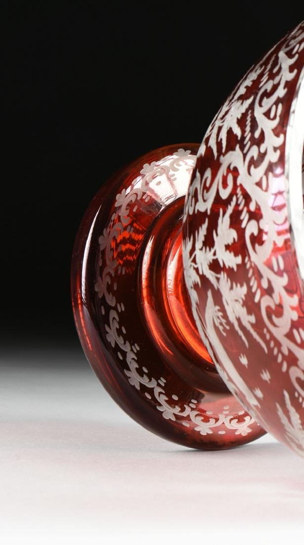 A GROUP OF TWO BOHEMIAN/CZECH RUBY CUT TO CLEAR GLASS - 8