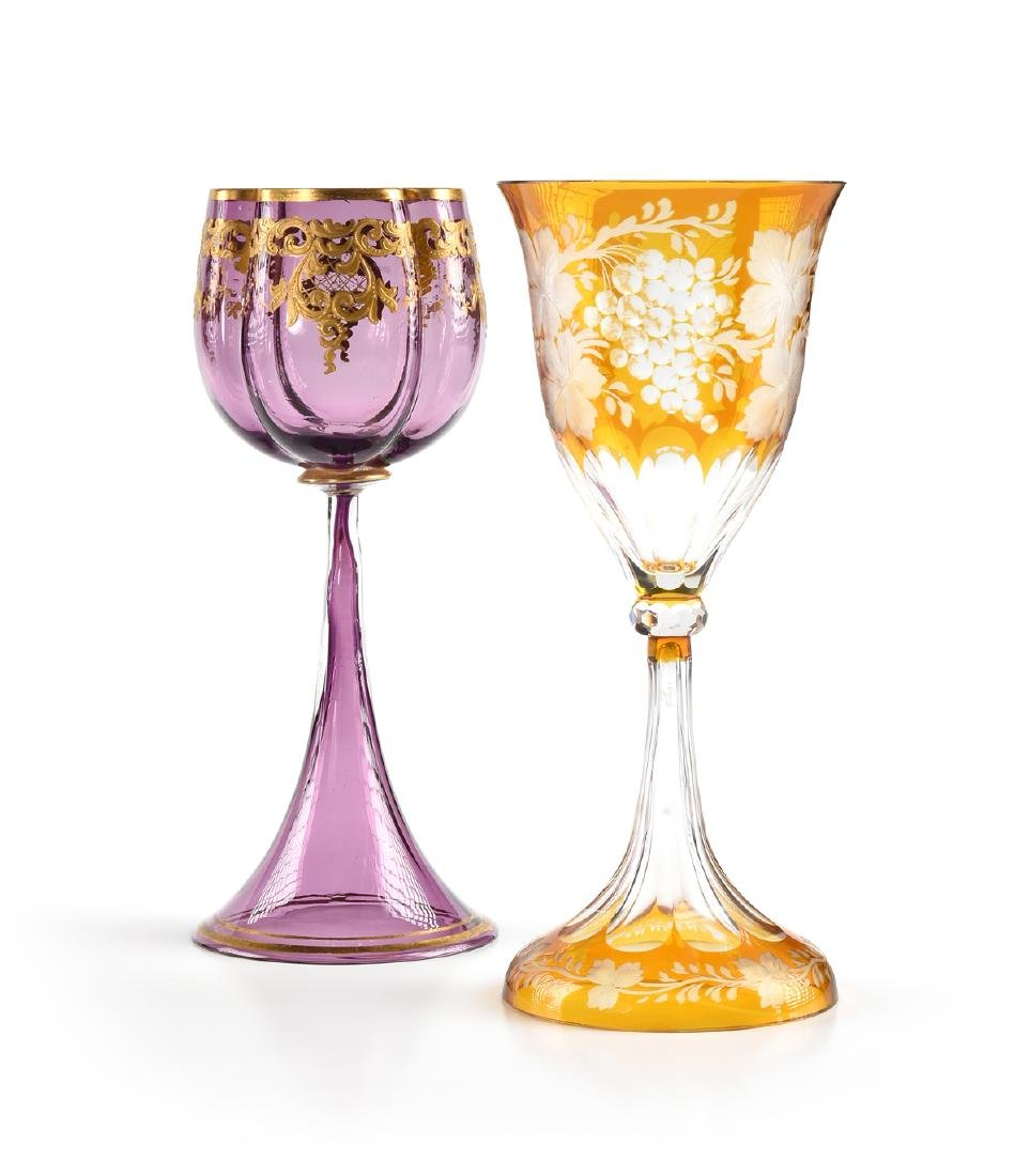 A GROUP OF TWO BOHEMIAN COLORED WINE GLASSES, CIRCA