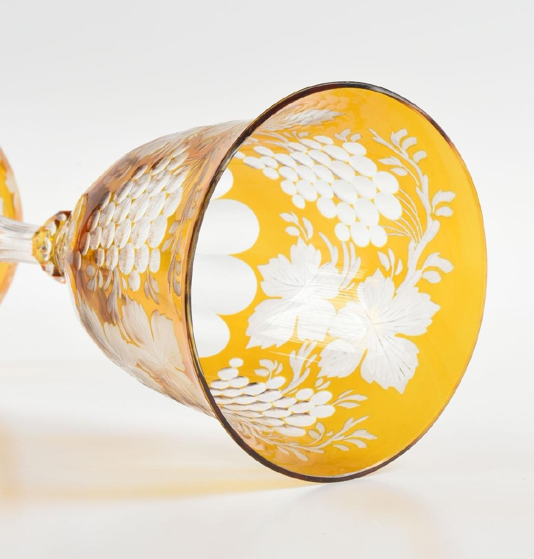 A GROUP OF TWO BOHEMIAN COLORED WINE GLASSES, CIRCA - 7