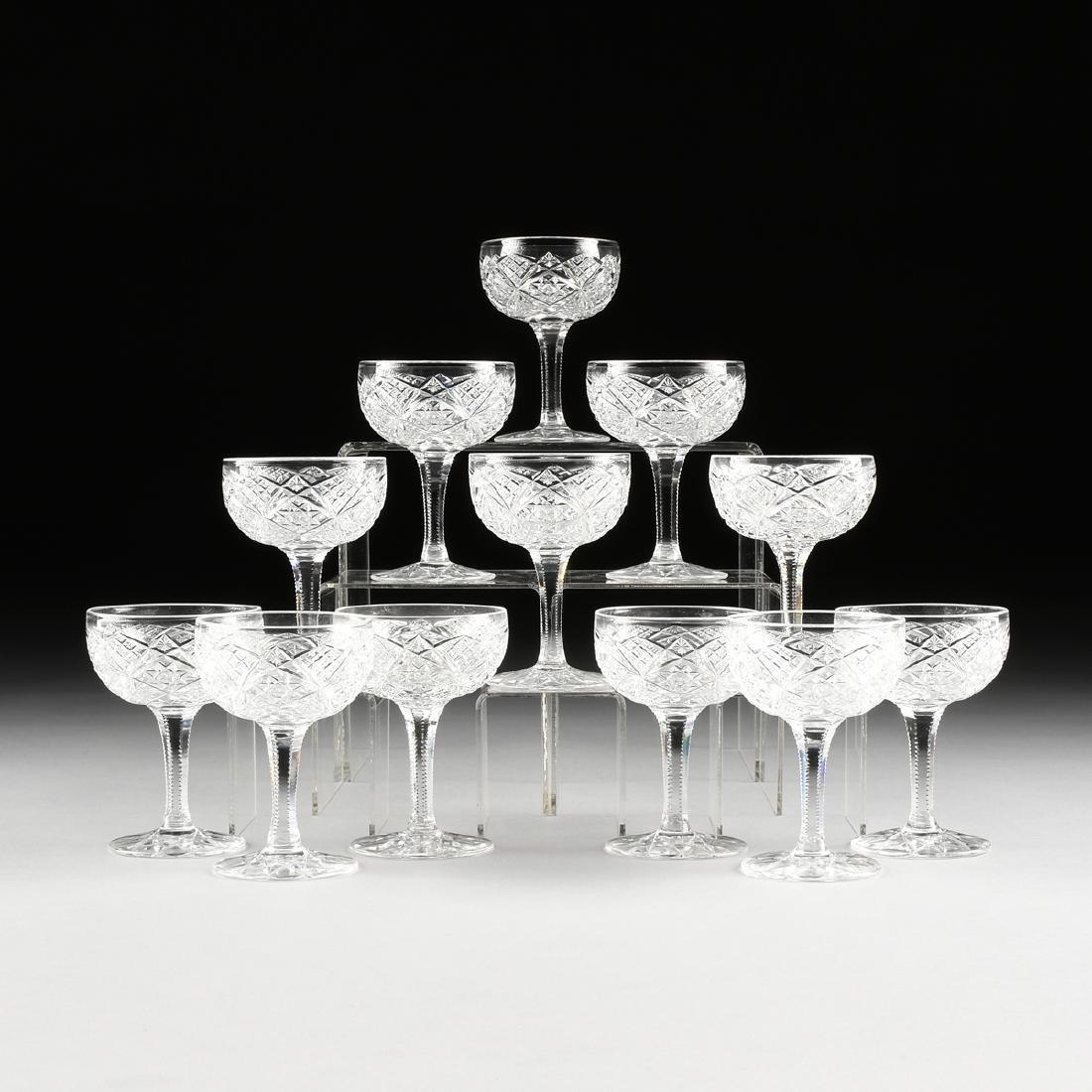 A SET OF TWELVE AMERICAN BRILLIANT CUT GLASS CHAMPAGNE
