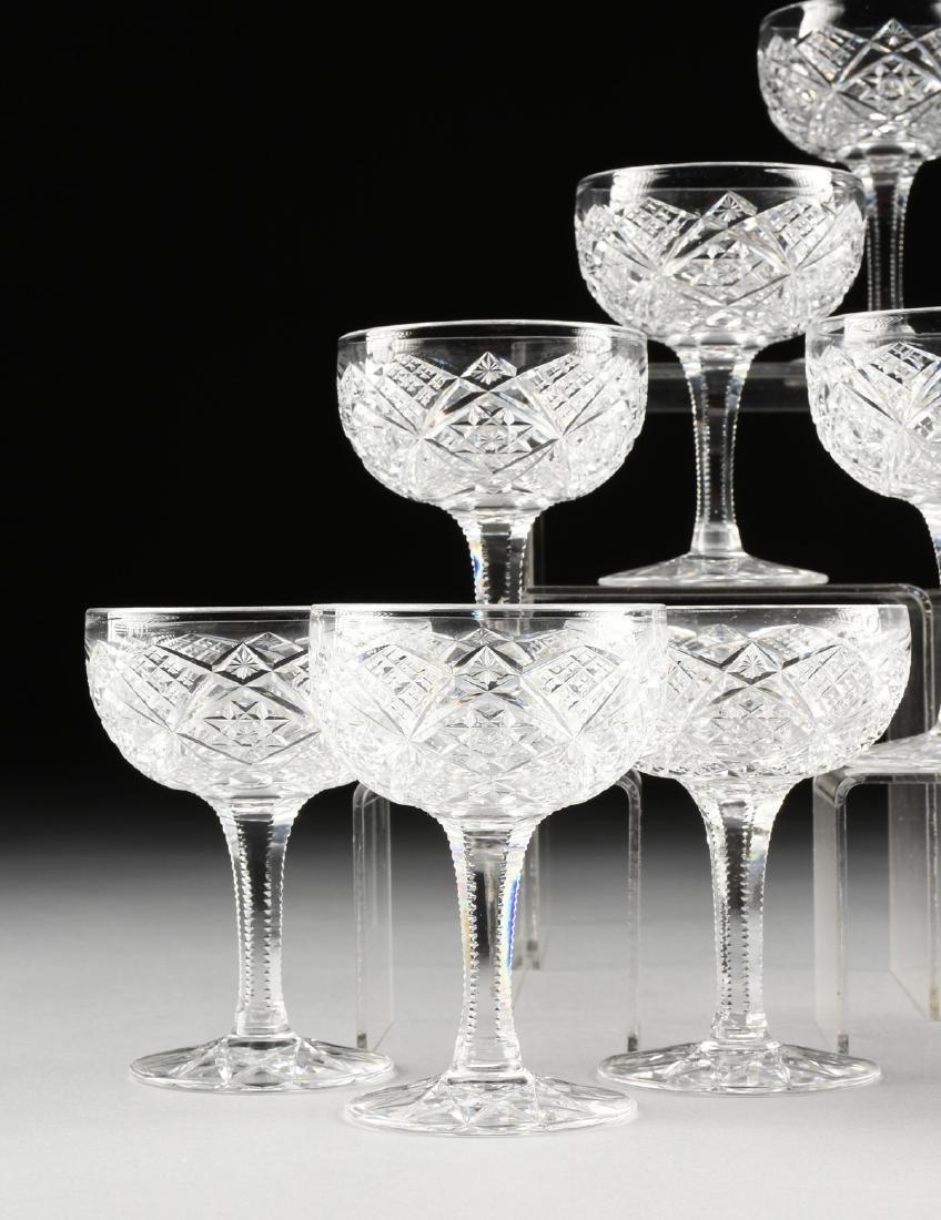 A SET OF TWELVE AMERICAN BRILLIANT CUT GLASS CHAMPAGNE - 2