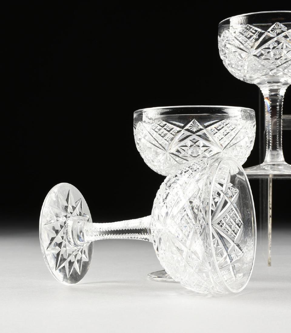 A SET OF TWELVE AMERICAN BRILLIANT CUT GLASS CHAMPAGNE - 4