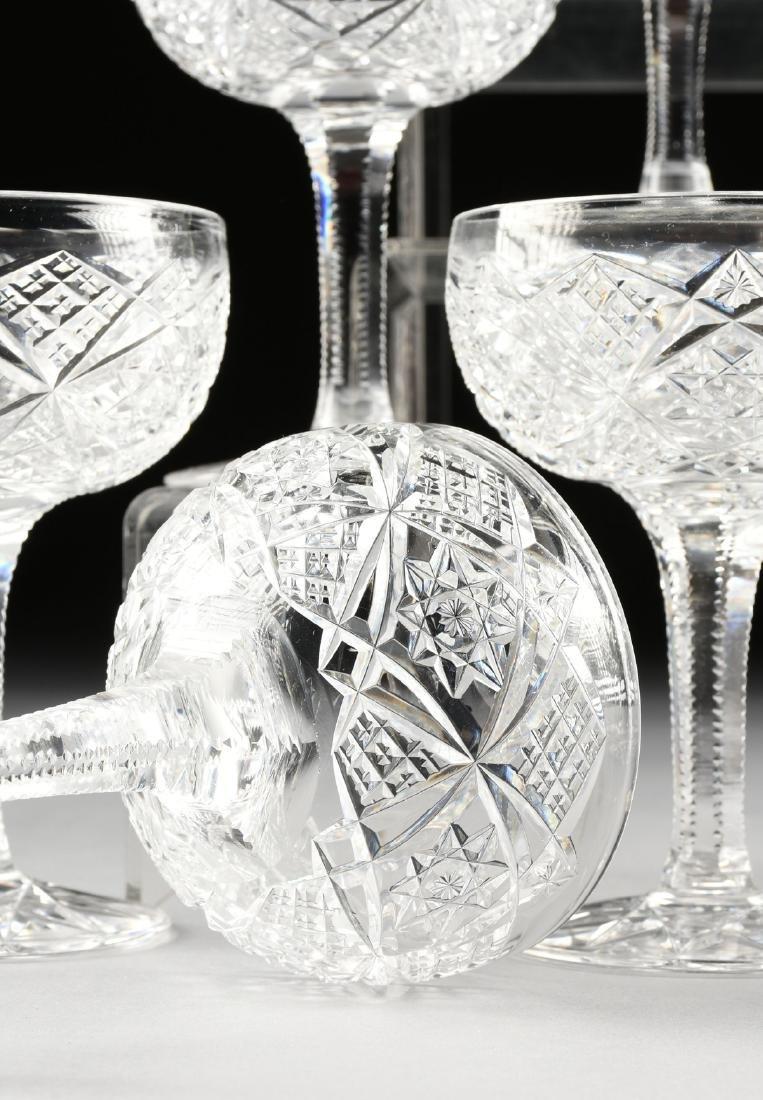 A SET OF TWELVE AMERICAN BRILLIANT CUT GLASS CHAMPAGNE - 5
