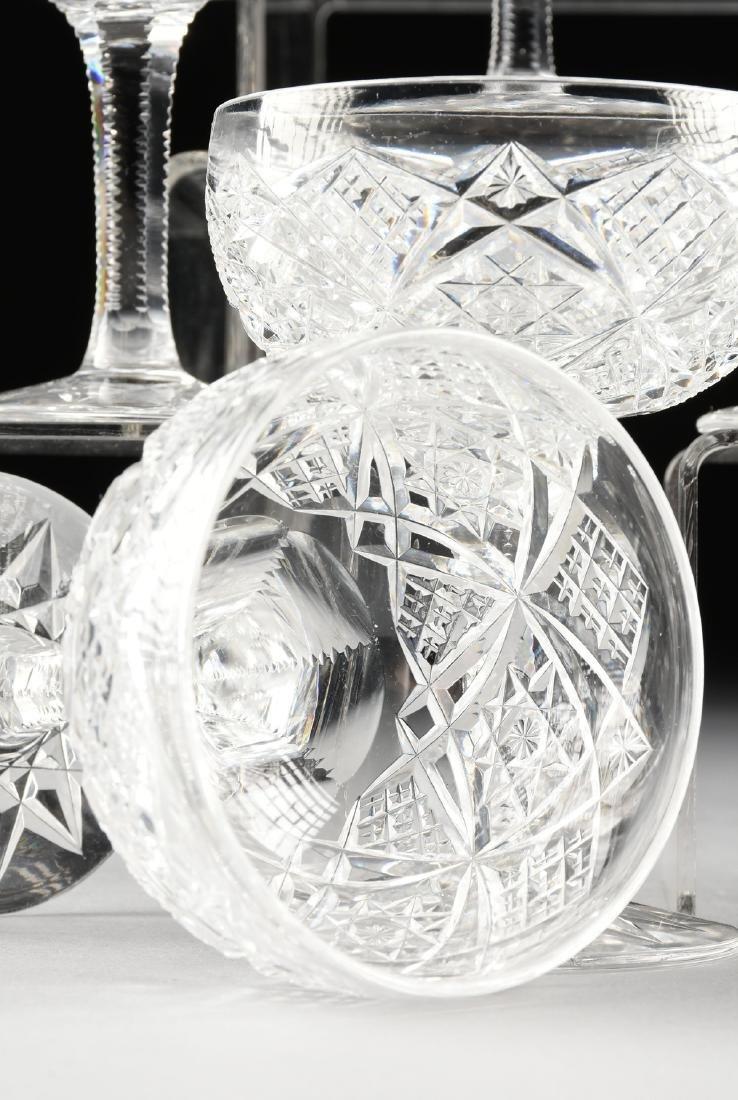 A SET OF TWELVE AMERICAN BRILLIANT CUT GLASS CHAMPAGNE - 7