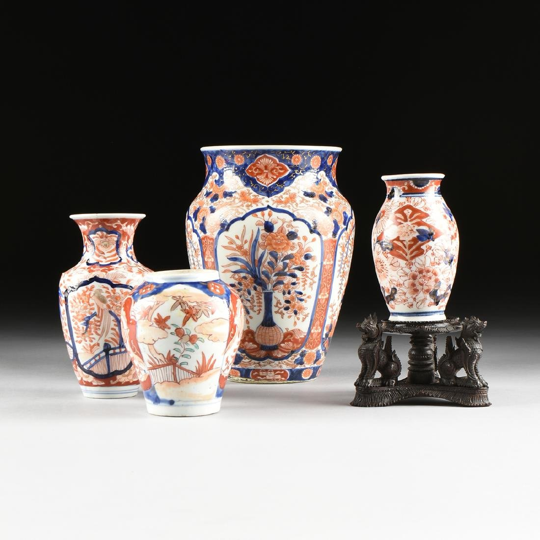 A GROUP OF FOUR JAPANESE GILT AND POLYCHROME ENAMEL