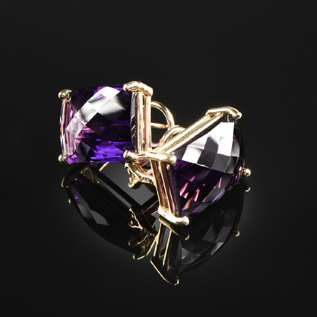 A PAIR OF 14K YELLOW GOLD AND AMETHYST LADY'S EARRINGS,