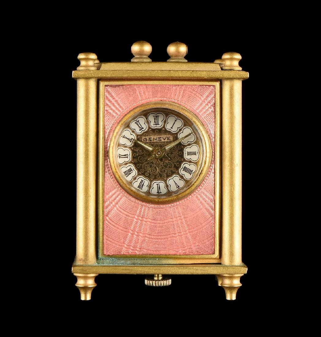 A SWISS PINK GUILLOCHÉ ENAMELED COPPER GILT METAL