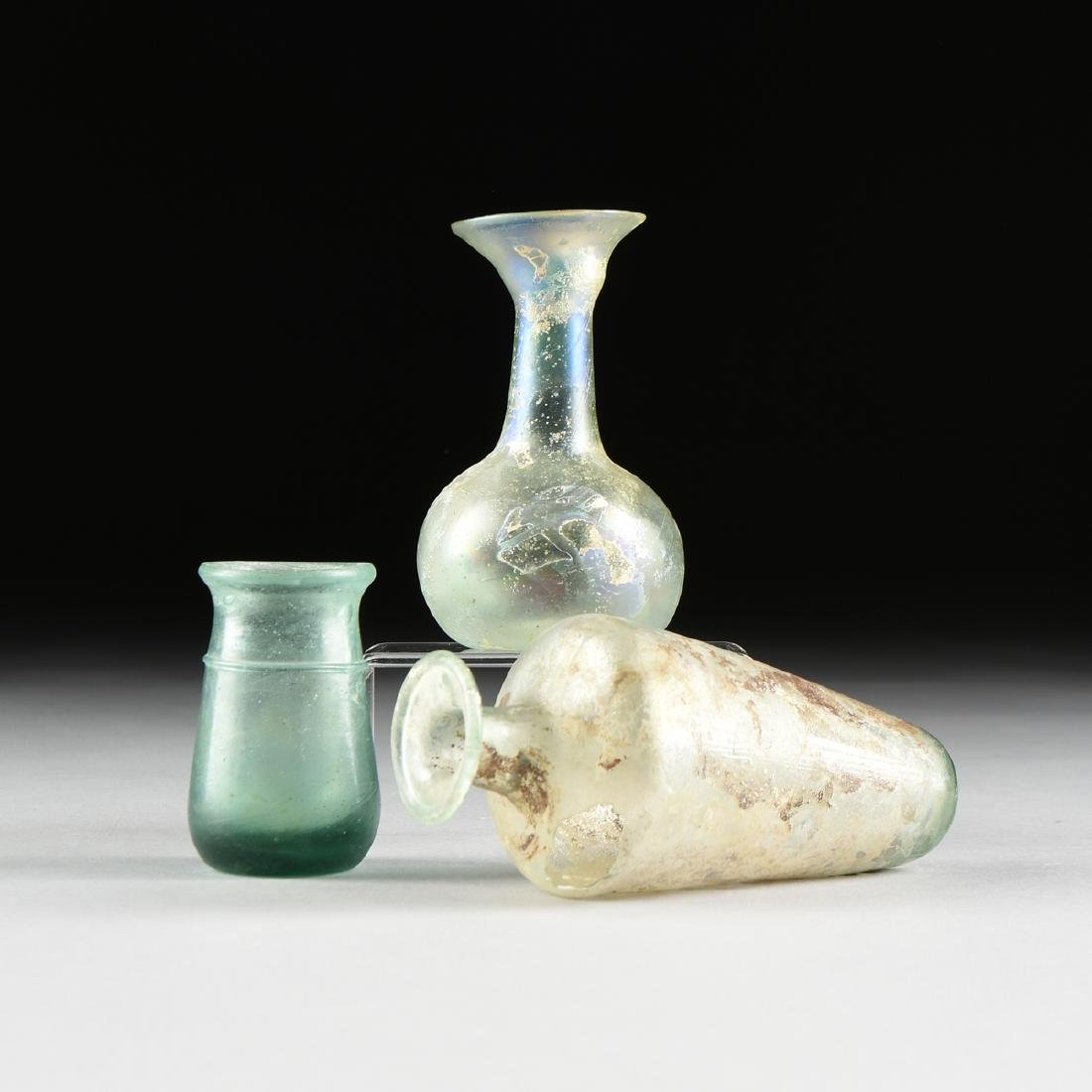 A GROUP OF THREE ANCIENT ROMAN GLASS UNGUENTARIUM, - 2