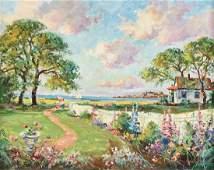 "WAYNE MORRELL (American 1923-2013) A PAINTING, ""Garden"