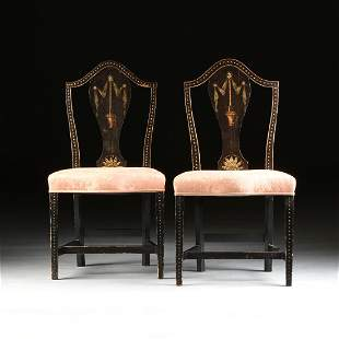 A PAIR OF BLACK LACQUERED STENCIL PAINTED UPHOLSTERED