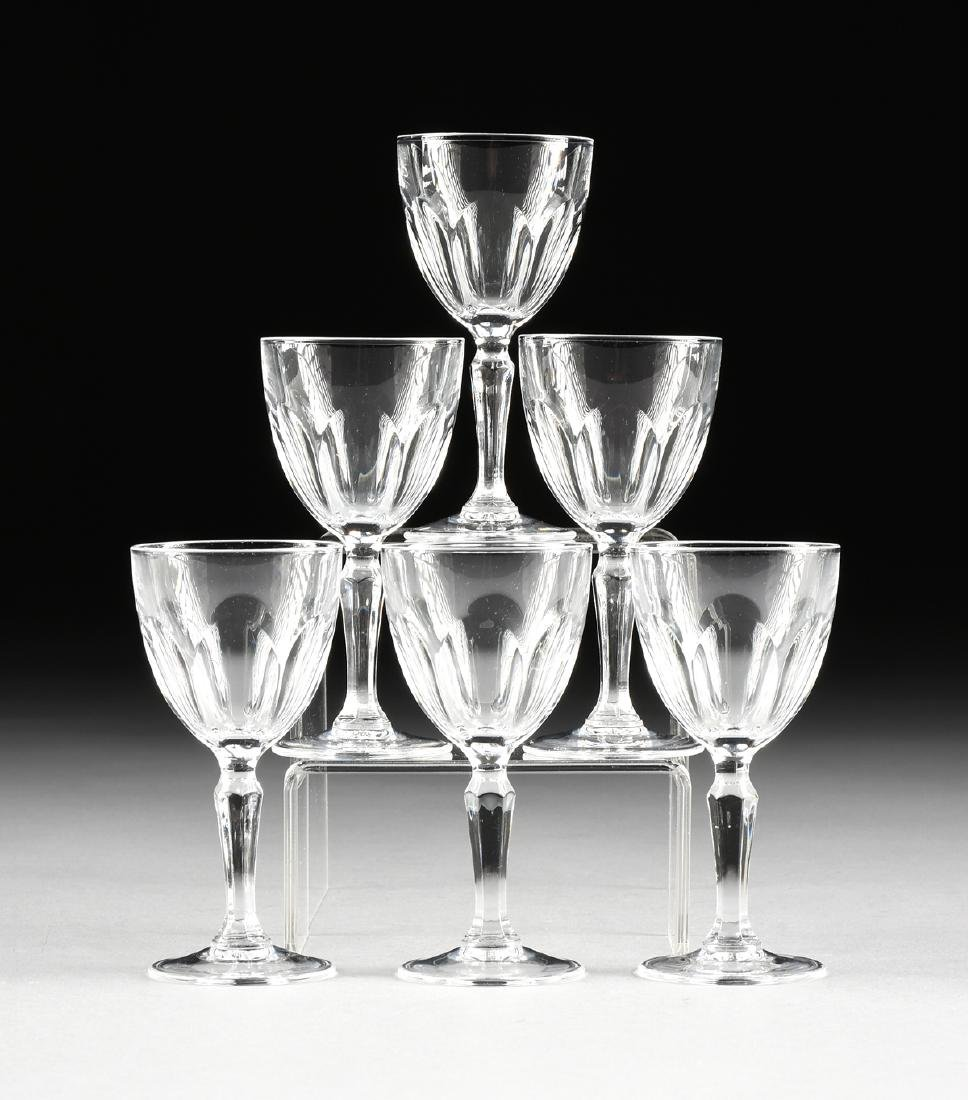A SET OF SIX VINTAGE CLEAR CRYSTAL SHERRY GLASSES,