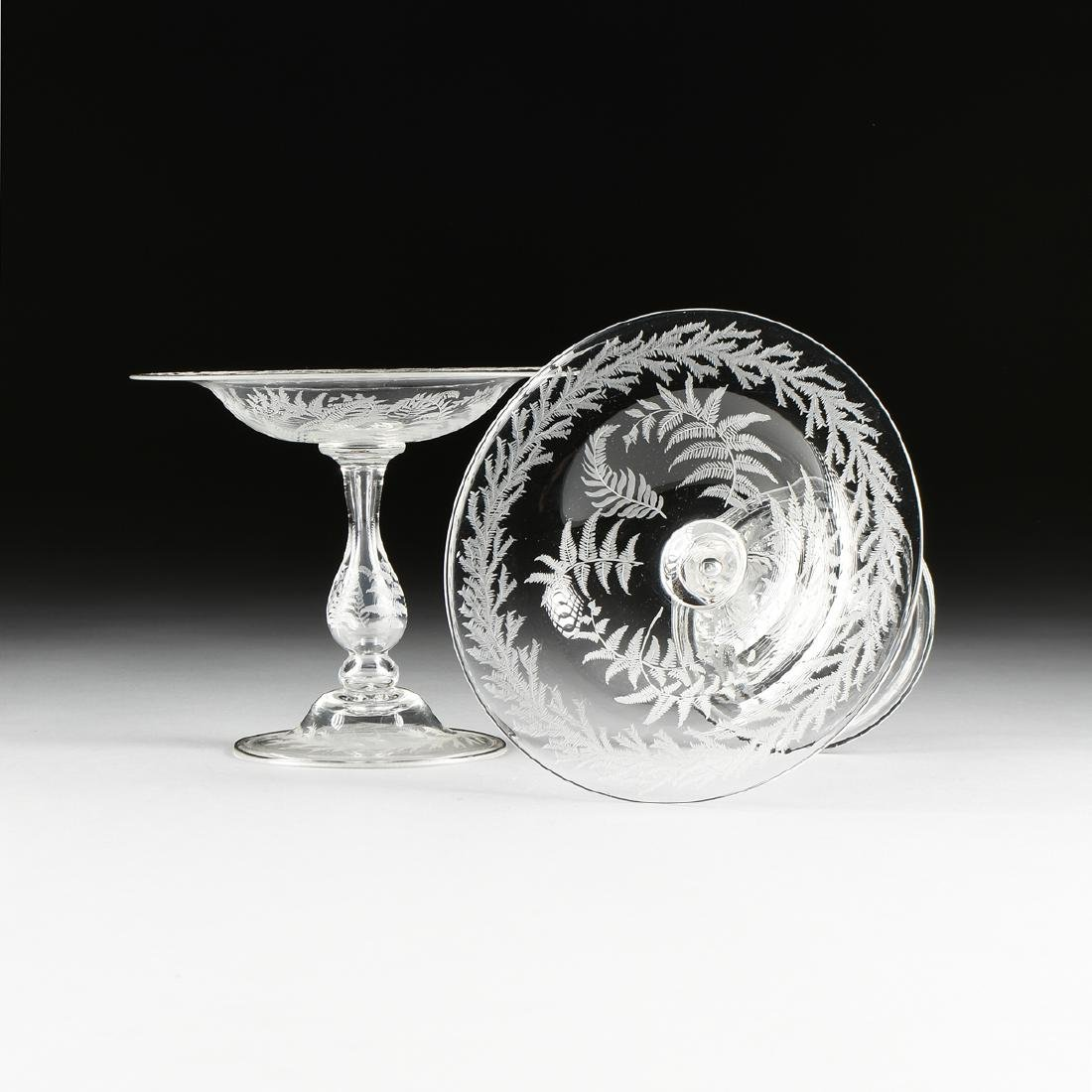 A PAIR OF AMERICAN OR ENGLISH HAND BLOWN CRYSTAL