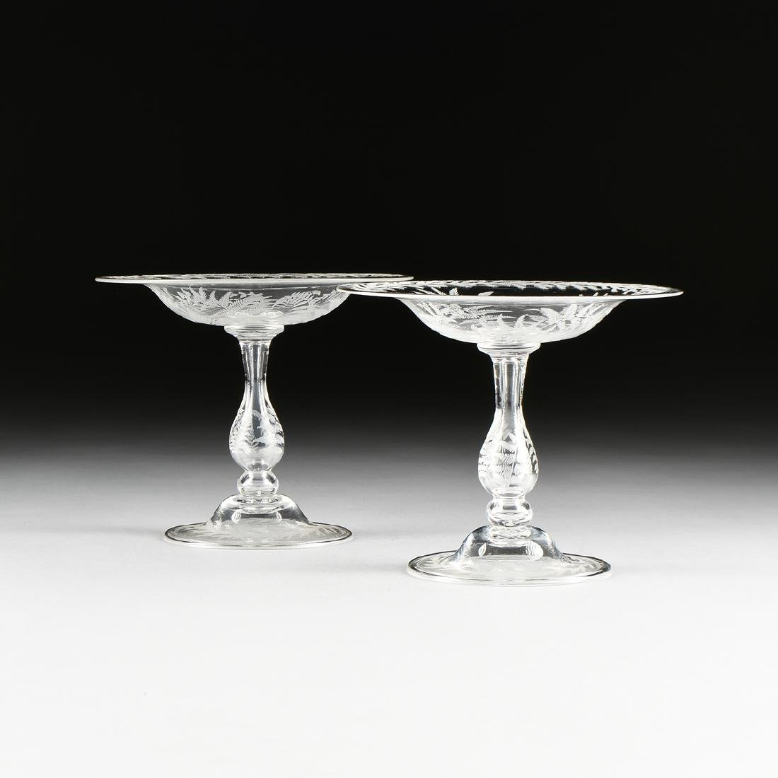 A PAIR OF AMERICAN OR ENGLISH HAND BLOWN CRYSTAL - 2