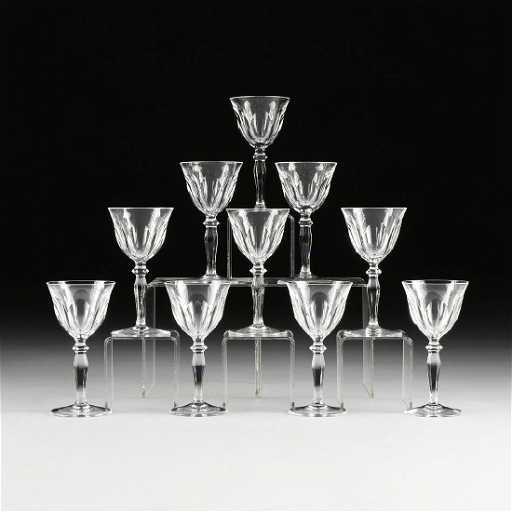 A Set Of Ten Peill Putzler Cut Crystal Wine Glasses