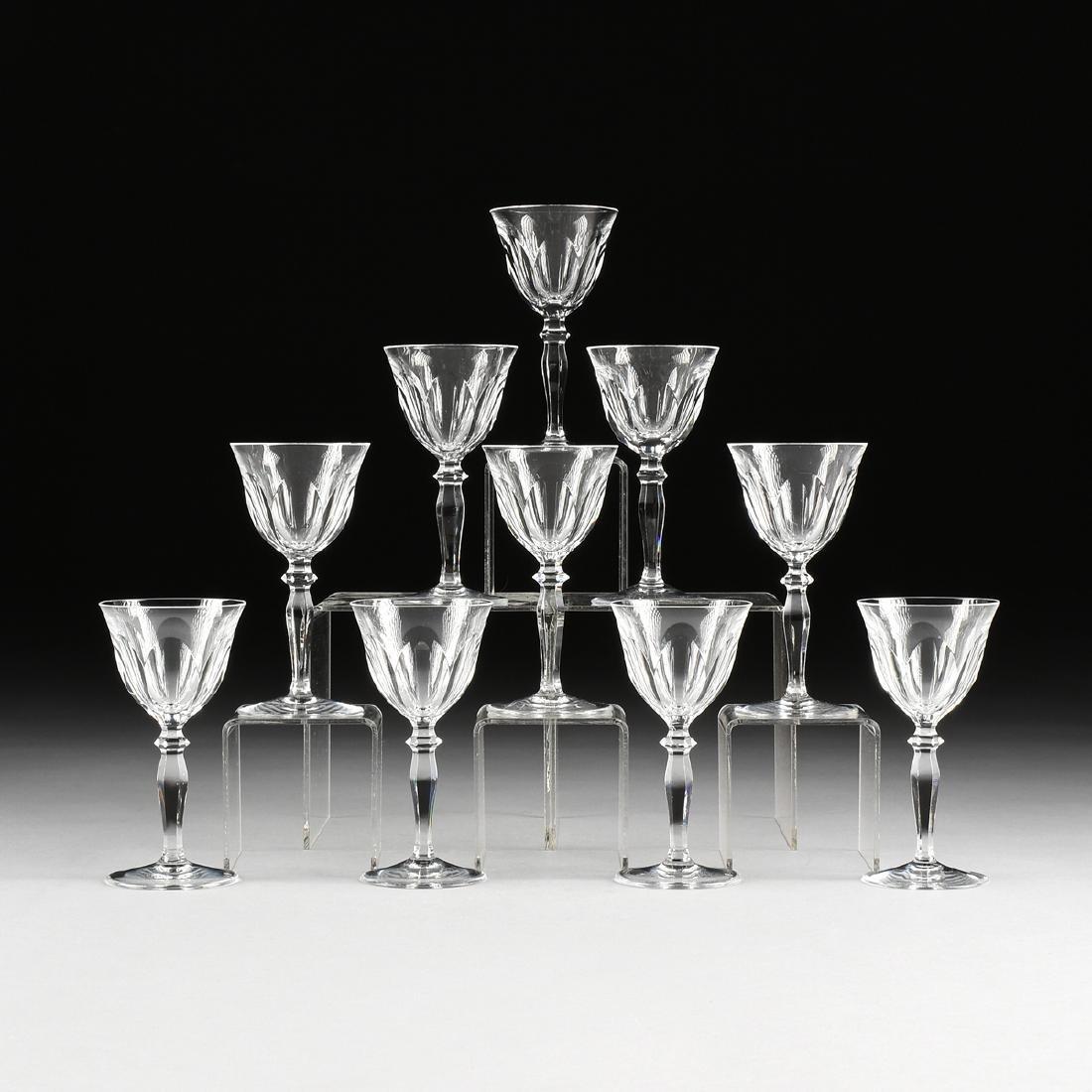 A SET OF TEN PEILL & PUTZLER CUT CRYSTAL WINE GLASSES