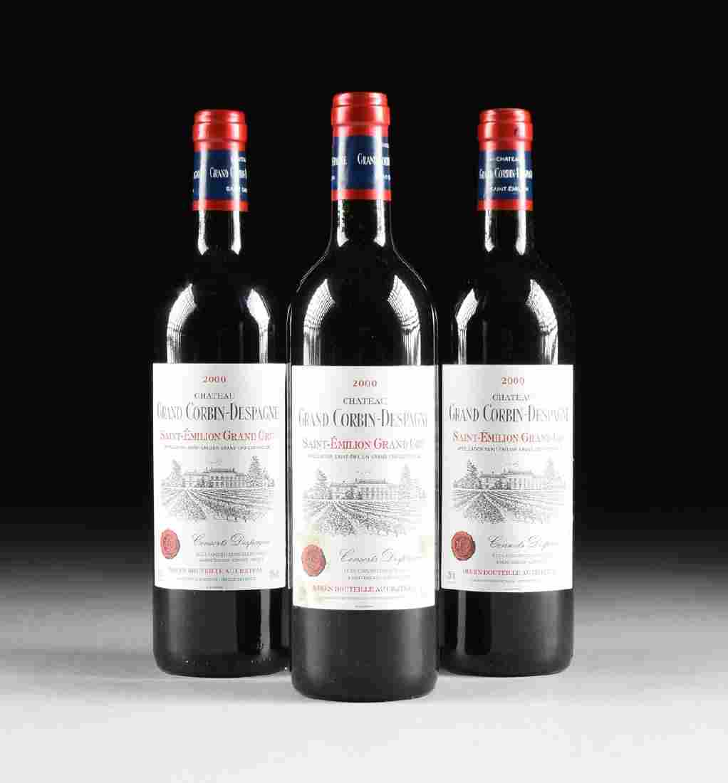 THREE BOTTLES OF 2000 CHATEAU GRAND CORBIN DESPAGNE,