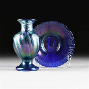 A GROUP OF TWO COBALT BLUE ART GLASS VESSELS, LATE 20TH