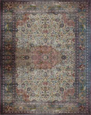 AN ANTIQUE PALACE SIZE PERSIAN HAND KNOTTED WOOL RUG IN
