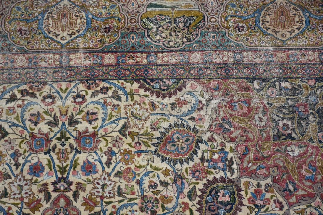 AN ANTIQUE PALACE SIZE PERSIAN HAND KNOTTED WOOL RUG IN - 5