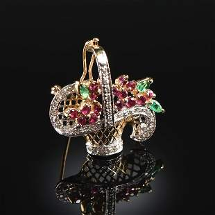 A 14K YELLOW GOLD, RUBY, AND DIAMOND LADY'S