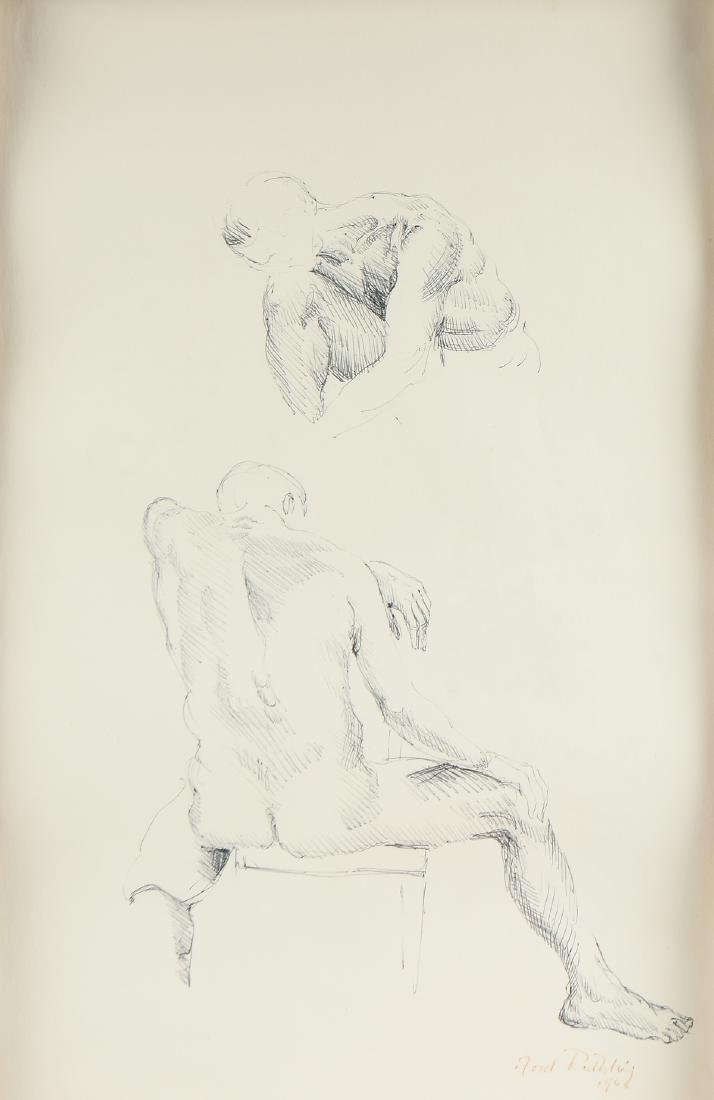 """FORD RUTHLING (American 1933-2015) A DRAWING, """"Male"""