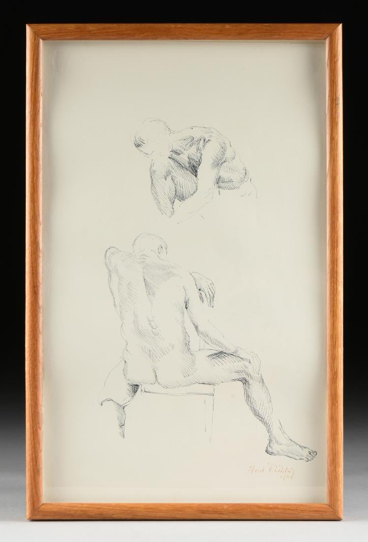 """FORD RUTHLING (American 1933-2015) A DRAWING, """"Male - 2"""