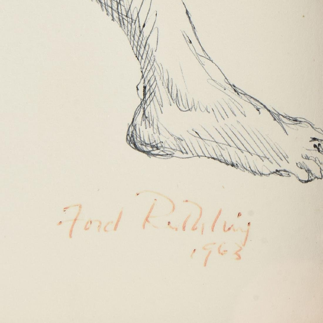 """FORD RUTHLING (American 1933-2015) A DRAWING, """"Male - 3"""