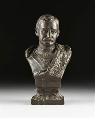 A VICTORIAN WHITE TERRA COTTA BUST OF FREDERICK GUSTAV