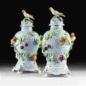 A PAIR OF DRESDEN ENCRUSTED FLOWER AND BIRD ENAMELED