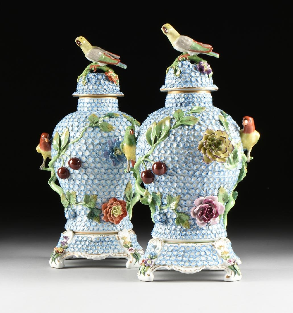 A PAIR OF DRESDEN ENCRUSTED FLOWER AND BIRD ENAMELED - 2