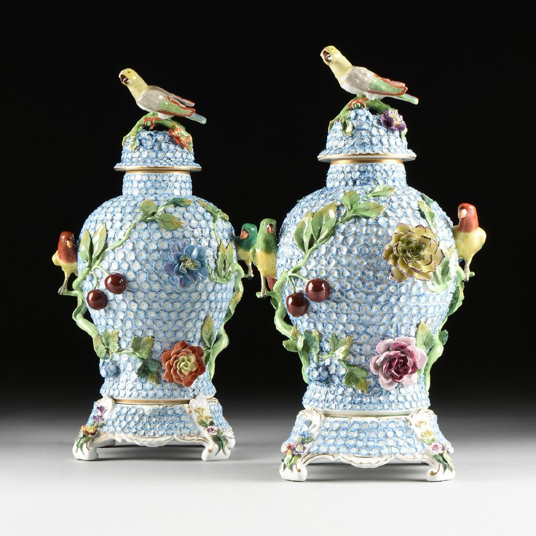 A PAIR OF DRESDEN ENCRUSTED FLOWER AND BIRD ENAMELED - 3