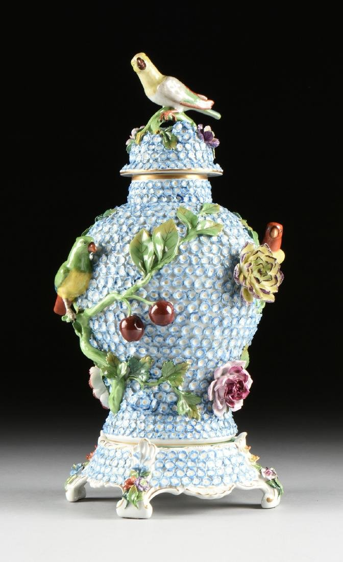 A PAIR OF DRESDEN ENCRUSTED FLOWER AND BIRD ENAMELED - 4