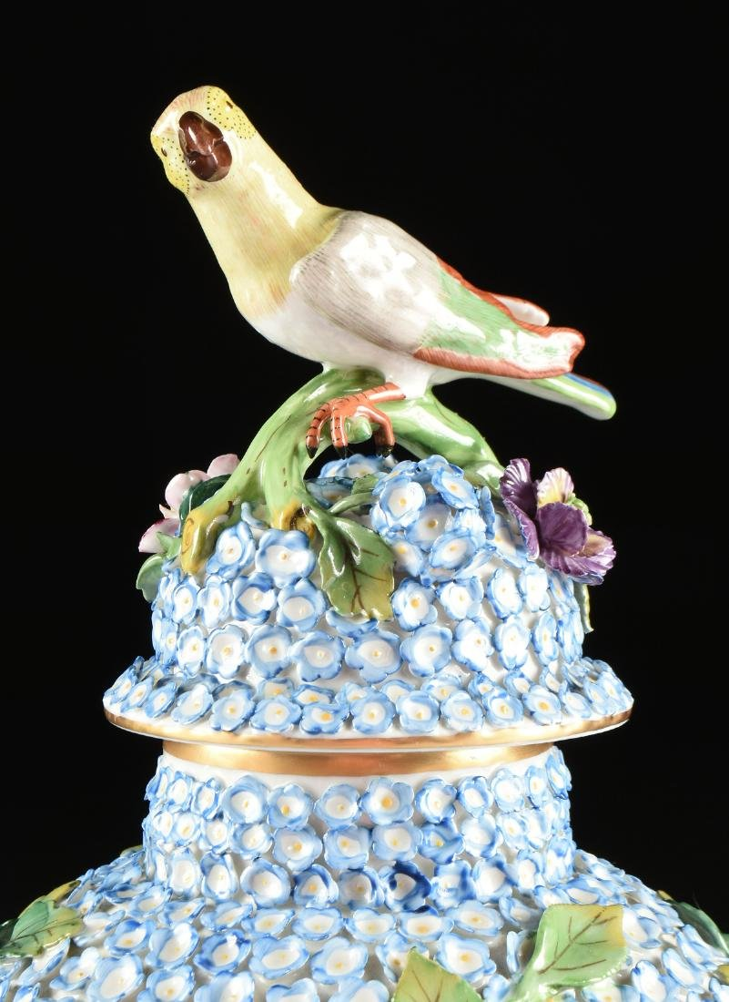 A PAIR OF DRESDEN ENCRUSTED FLOWER AND BIRD ENAMELED - 6