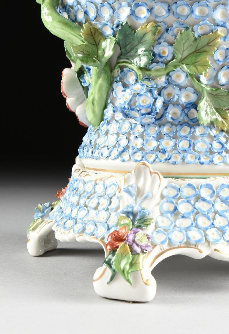 A PAIR OF DRESDEN ENCRUSTED FLOWER AND BIRD ENAMELED - 7