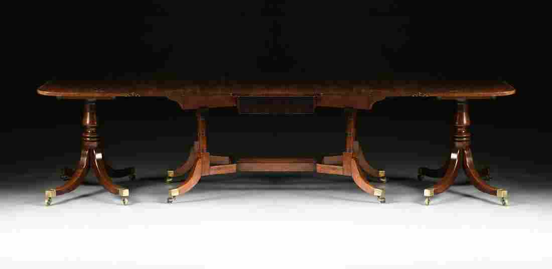 A LATE REGENCY MAHOGANY DINING TABLE, ENGLISH, GEORGE