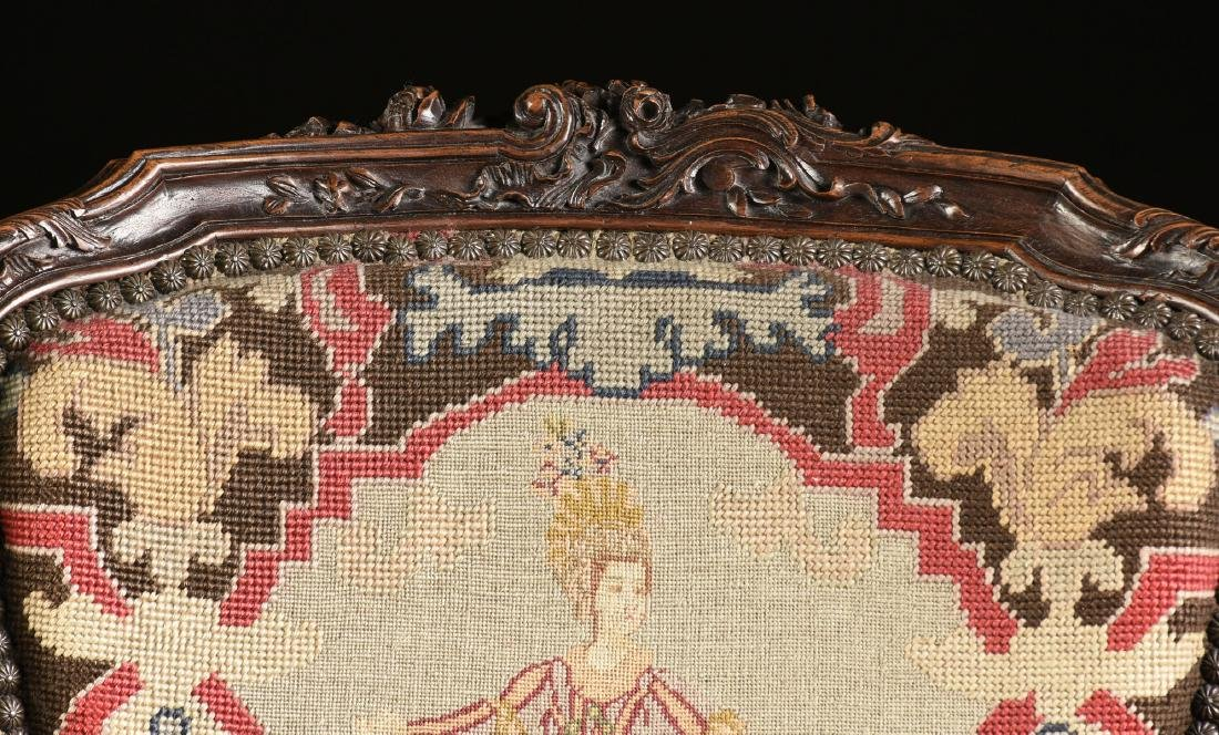 A PAIR OF LOUIS XV STYLE NEEDLEPOINT UPHOLSTERED WALNUT - 10