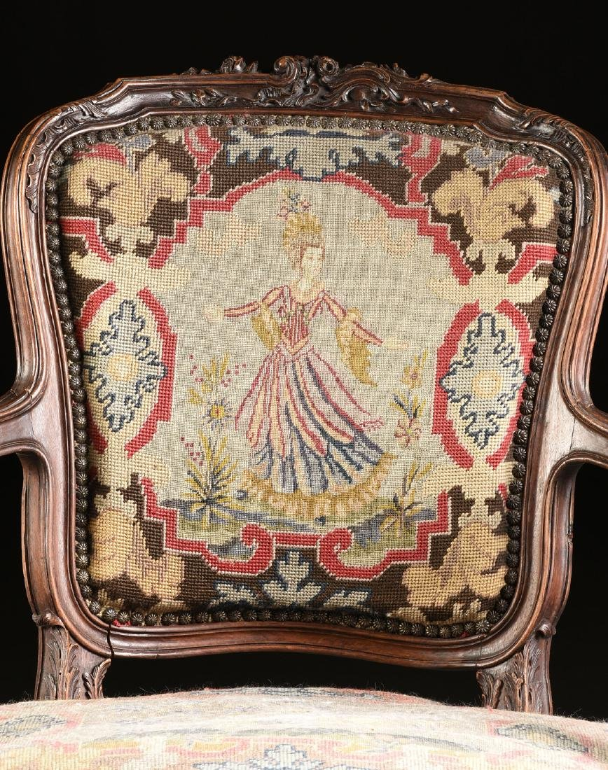 A PAIR OF LOUIS XV STYLE NEEDLEPOINT UPHOLSTERED WALNUT - 2