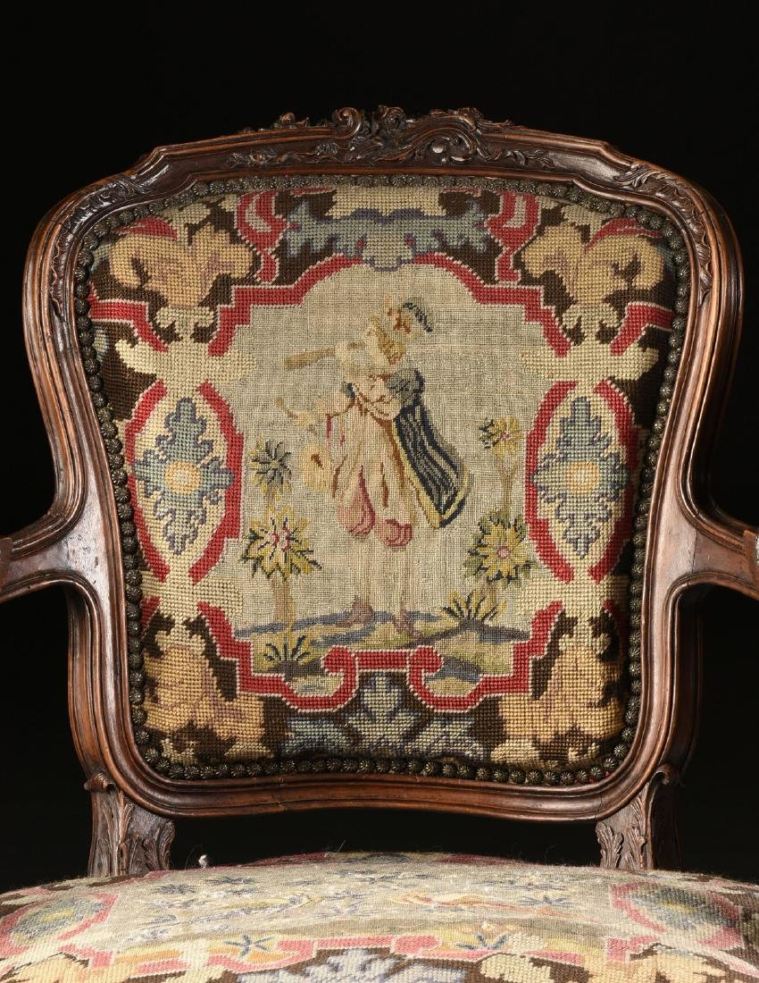 A PAIR OF LOUIS XV STYLE NEEDLEPOINT UPHOLSTERED WALNUT - 3