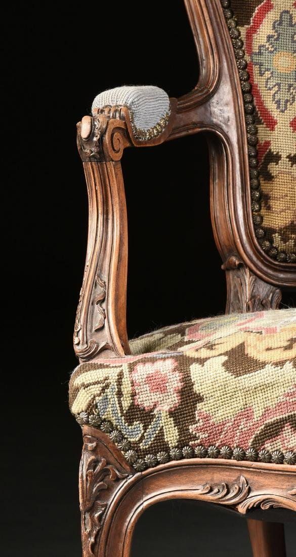 A PAIR OF LOUIS XV STYLE NEEDLEPOINT UPHOLSTERED WALNUT - 4