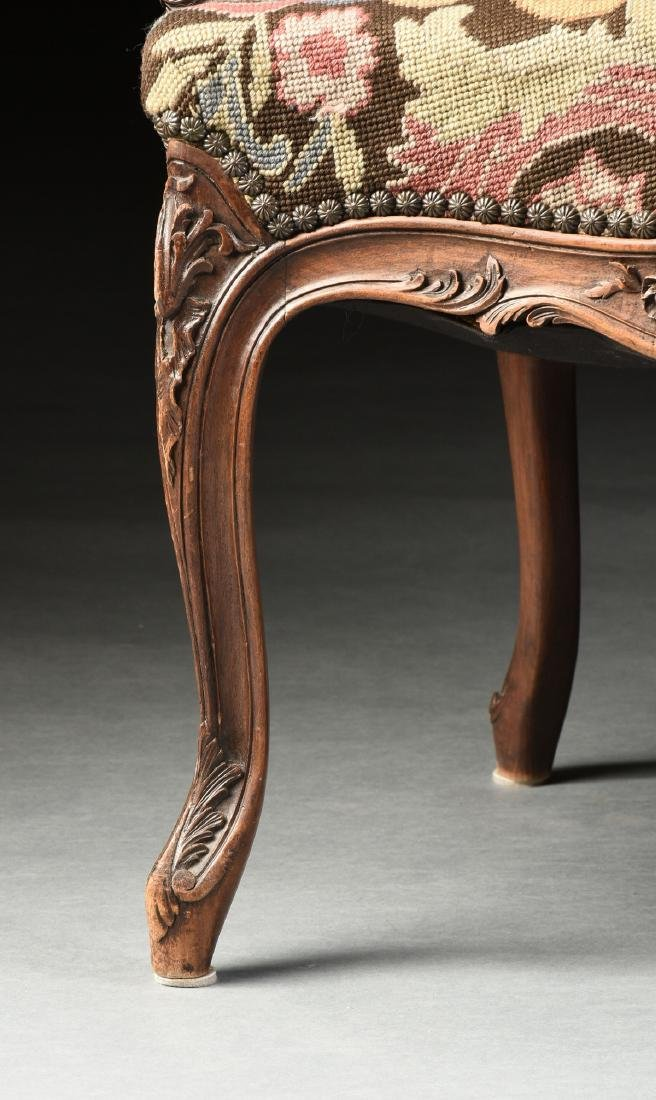 A PAIR OF LOUIS XV STYLE NEEDLEPOINT UPHOLSTERED WALNUT - 5