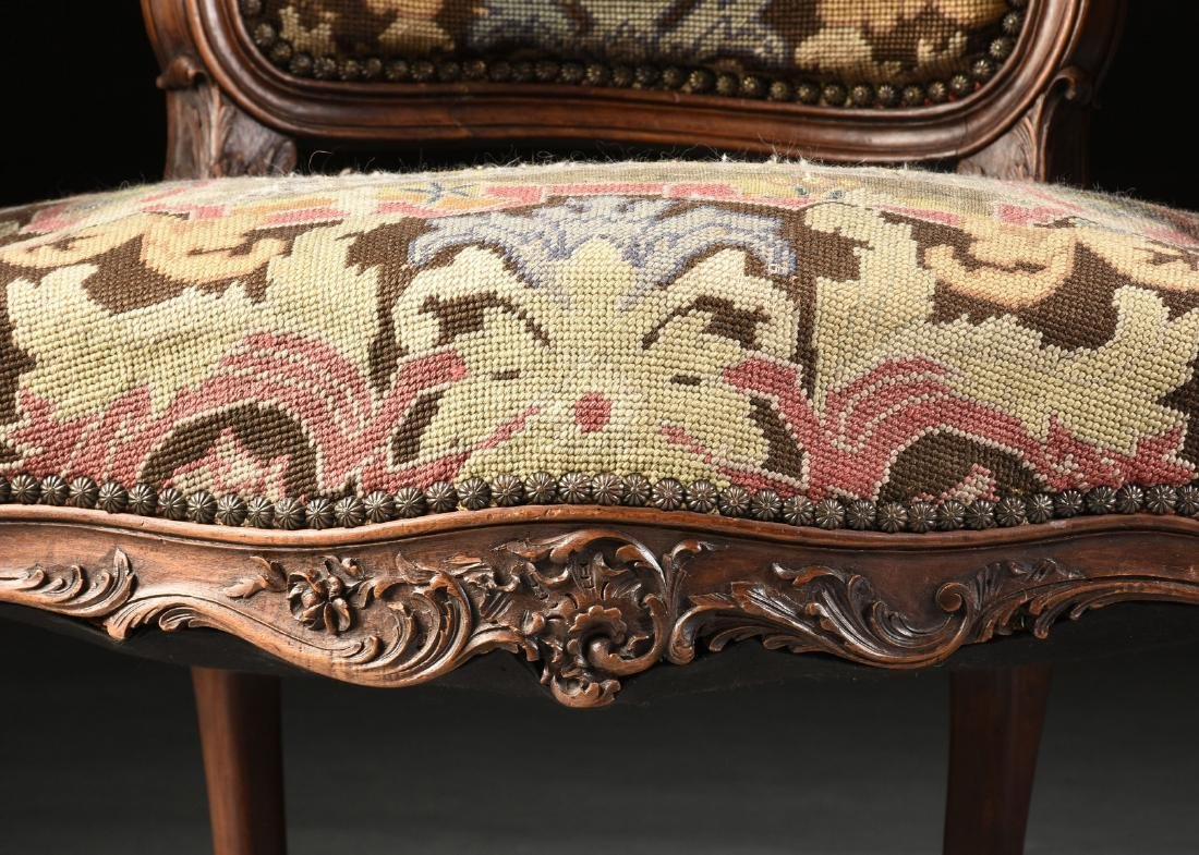 A PAIR OF LOUIS XV STYLE NEEDLEPOINT UPHOLSTERED WALNUT - 6