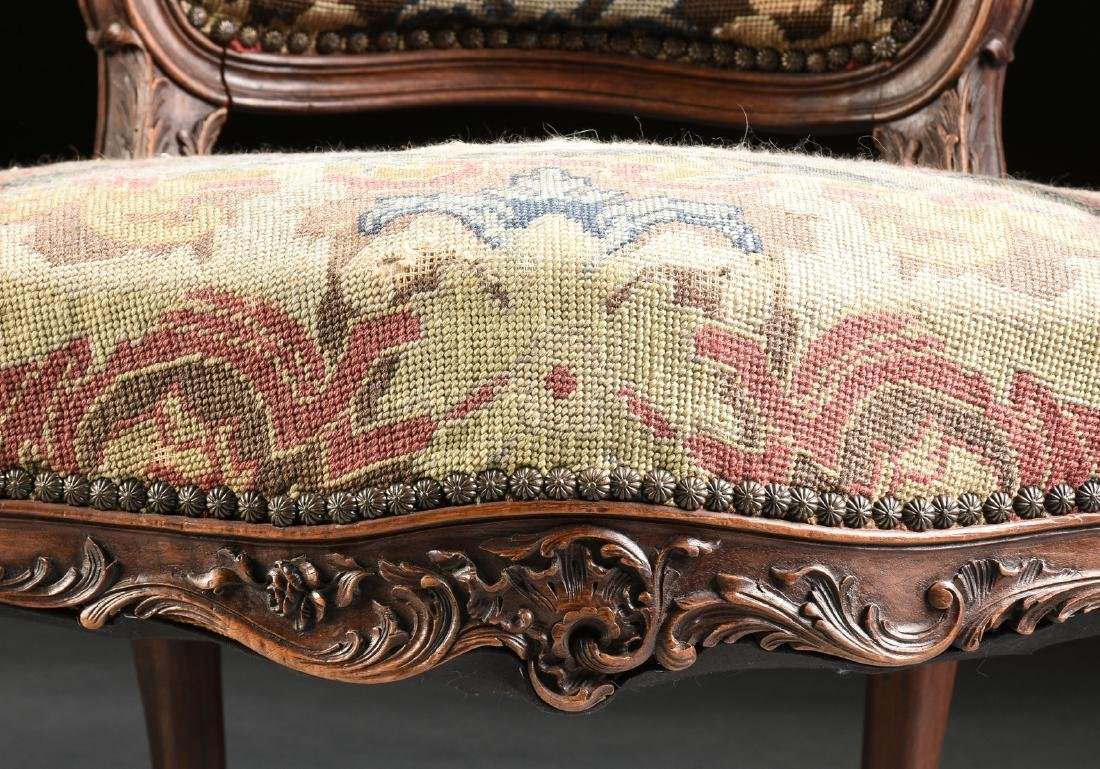 A PAIR OF LOUIS XV STYLE NEEDLEPOINT UPHOLSTERED WALNUT - 8